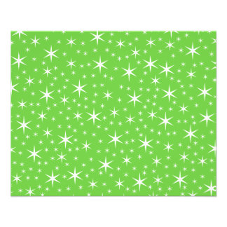 Green and White Star Pattern. Personalized Flyer