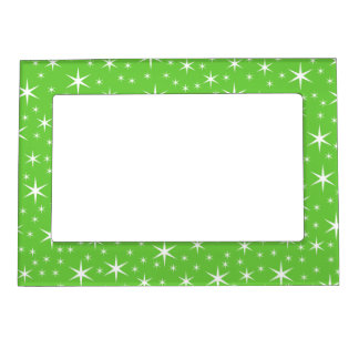 Green and White Star Pattern. Frame Magnets