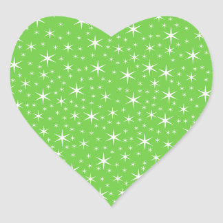 Green and White Star Pattern. Heart Sticker