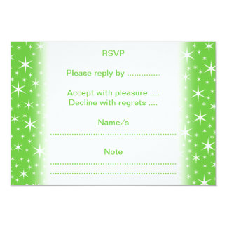 Green and White Star Pattern. 3.5x5 Paper Invitation Card