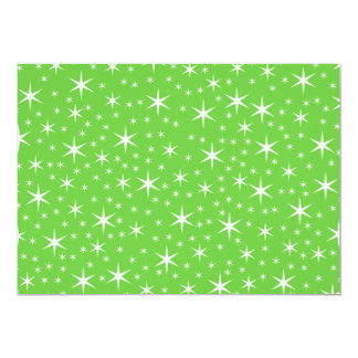Green and White Star Pattern. 5x7 Paper Invitation Card