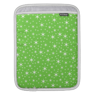 Green and White Star Pattern. iPad Sleeves