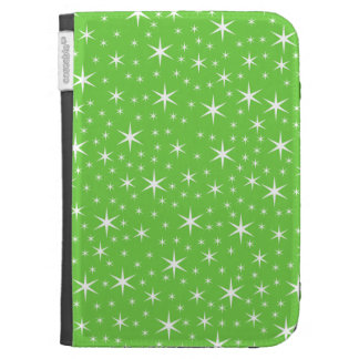 Green and White Star Pattern. Kindle Folio Case