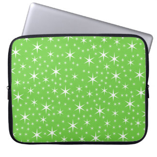 Green and White Star Pattern. Laptop Computer Sleeve