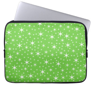 Green and White Star Pattern. Laptop Sleeves