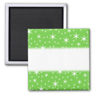 Green and White Star Pattern. Magnet