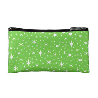 Green and White Star Pattern. Makeup Bag
