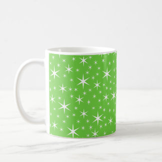 Green and White Star Pattern. Classic White Coffee Mug