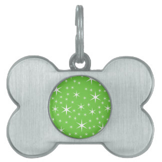 Green and White Star Pattern. Pet Name Tags