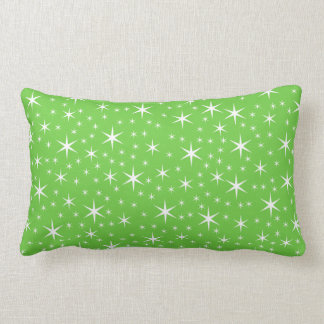Green and White Star Pattern. Pillow