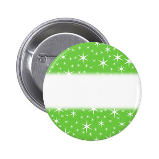 Green and White Star Pattern. Pinback Buttons