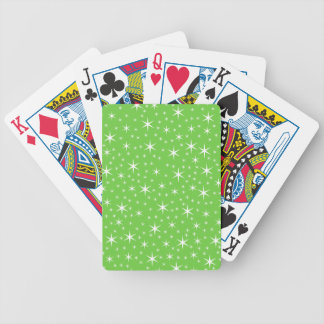 Green and White Star Pattern. Poker Deck