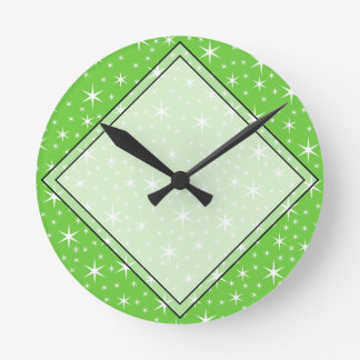 Green and White Star Pattern. Round Wall Clocks