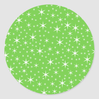 Green and White Star Pattern. Classic Round Sticker