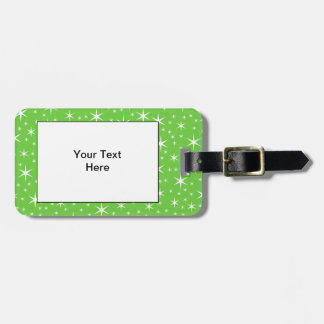 Green and White Star Pattern. Tag For Bags