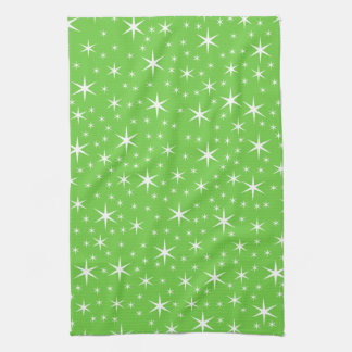 Green and White Star Pattern. Towel