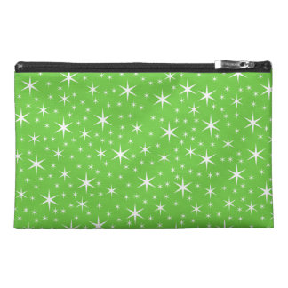 Green and White Star Pattern. Travel Accessory Bag