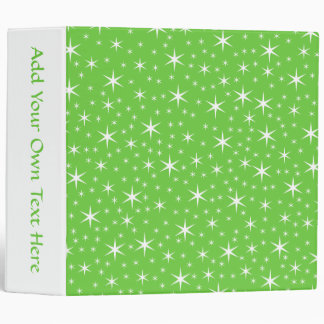 Green and White Star Pattern. Vinyl Binders