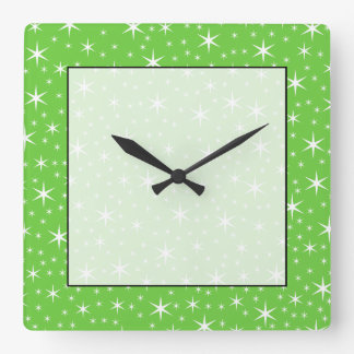 Green and White Star Pattern. Wall Clock