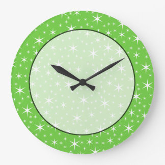 Green and White Star Pattern. Wall Clocks