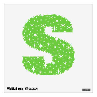Green and White Star Pattern. Wall Sticker