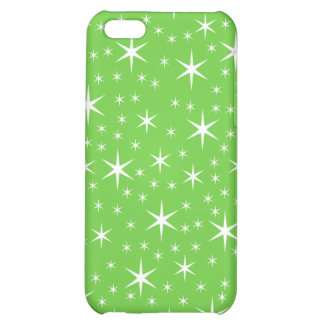 Green and White Star Pern. Cover For iPhone 5C