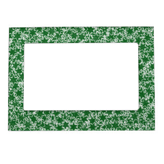 Green and White Star Team Spirit Sports Colors Magnetic Photo Frames