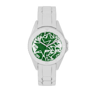 Green and White Star Team Spirit Sports Colors Watches