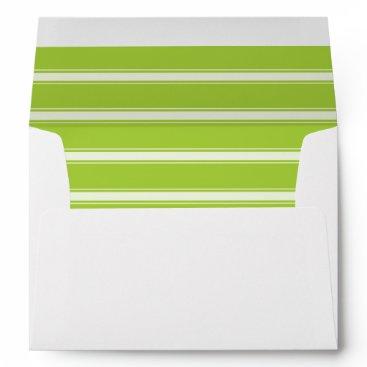 partridgelanestudio Green and White Strip with Return Address Envelope