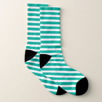 Green and white stripe pattern socks