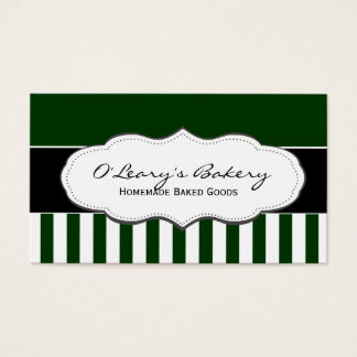 Green and White Striped Business Cards