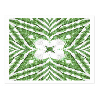 green and white striped pattern, floral angles postcard