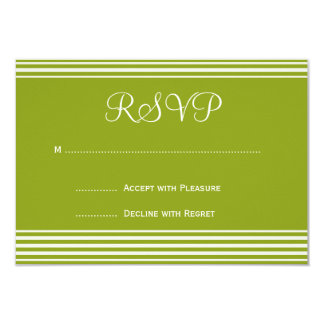 Green and White Striped Wedding Invitation RSVP