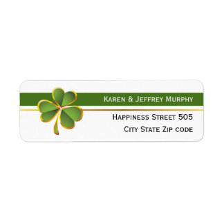 Green and white stripes and clover Irish wedding Label