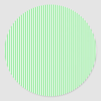 Green and White Stripes Classic Round Sticker