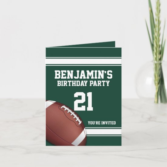 Green and White Stripes Football Birthday Party Invitation