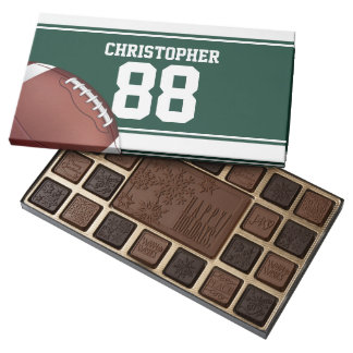 Green and White Stripes Jersey Grid Iron Football 45 Piece Assorted Chocolate Box
