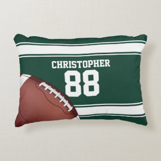 Green and White Stripes Jersey Grid Iron Football Accent Pillow