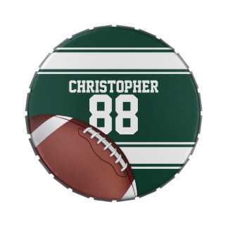 Green and White Stripes Jersey Grid Iron Football Candy Tins