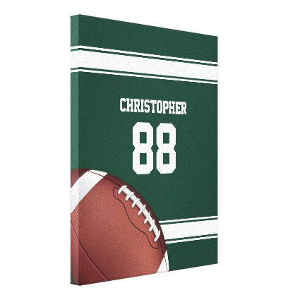 Green and White Stripes Jersey Grid Iron Football Canvas Print