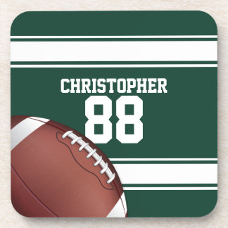 Green and White Stripes Jersey Grid Iron Football Drink Coasters