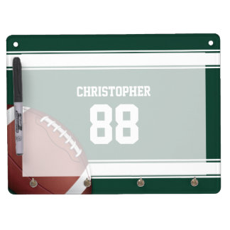 Green and White Stripes Jersey Grid Iron Football Dry Erase Board With Keychain Holder