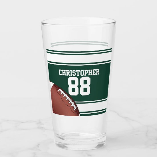 Green and White Stripes Jersey Grid Iron Football Glas