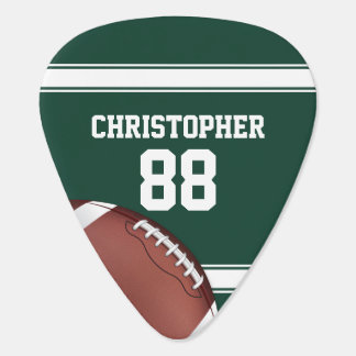Green and White Stripes Jersey Grid Iron Football Guitar Pick