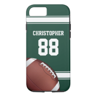 Green and White Stripes Jersey Grid Iron Football iPhone 7 Case