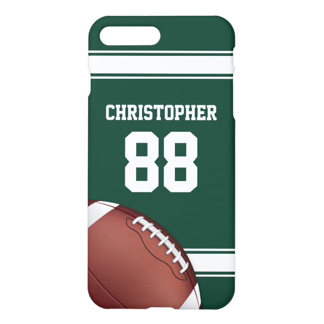 Green and White Stripes Jersey Grid Iron Football iPhone 7 Plus Case