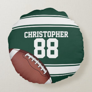 Green and White Stripes Jersey Grid Iron Football Round Pillow