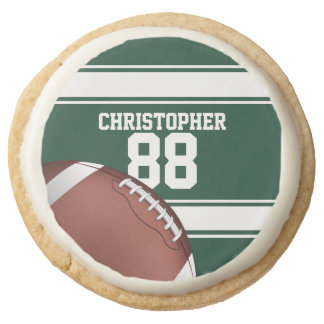 Green and White Stripes Jersey Grid Iron Football Round Premium Shortbread Cookie