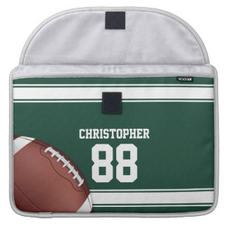 Green and White Stripes Jersey Grid Iron Football Sleeve For MacBooks