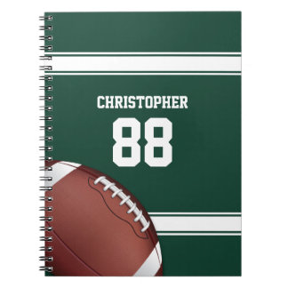 Green and White Stripes Jersey Grid Iron Football Spiral Notebook